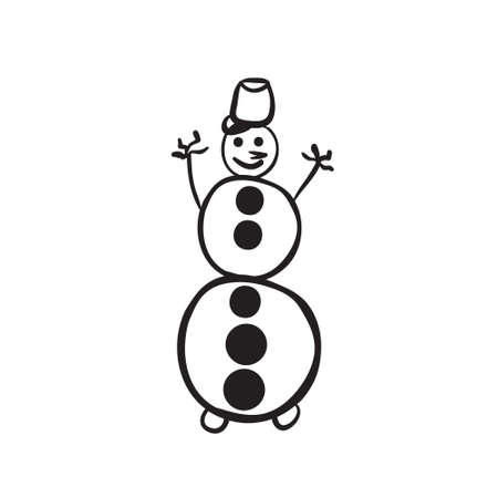 Vector hand drawn snowman. Black sketch on white background. Vector