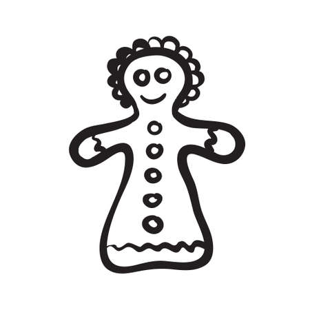 Vector hand drawn Christmas gingerbread girl. Black sketch on white background. Vector