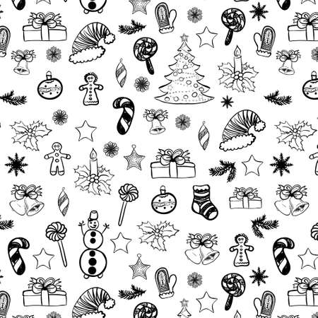 Vector Christmas hand drawn seamless pattern. Black on white color. Vector