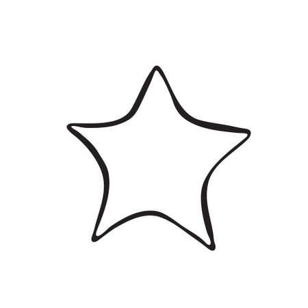 Vector hand drawn Christmas star toy. Black sketch on white background. Illustration