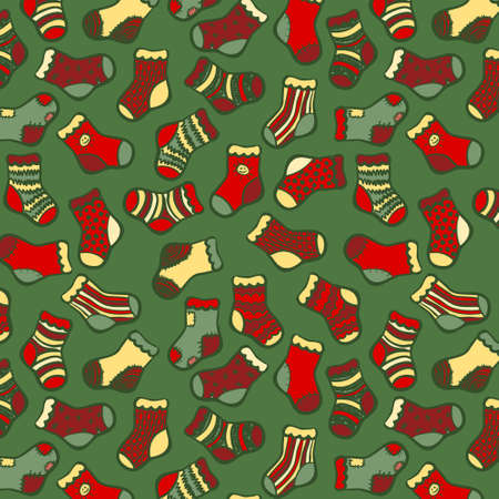 Vector hand drawn socks seamless pattern. Green and red on green color. Vector