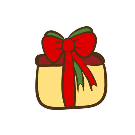 Vector hand drawn gift box with bow. Color sketch on white background. Illustration