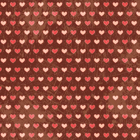 St. Valentine hearts. Simply seamless vector background with grunge elements. White and pink on brown color. Vector