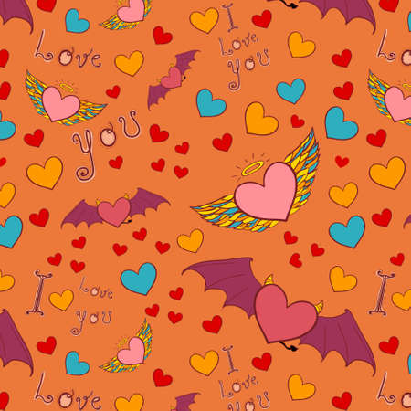 devil and angel hearts love doodle. Color vector seamless background. Vector