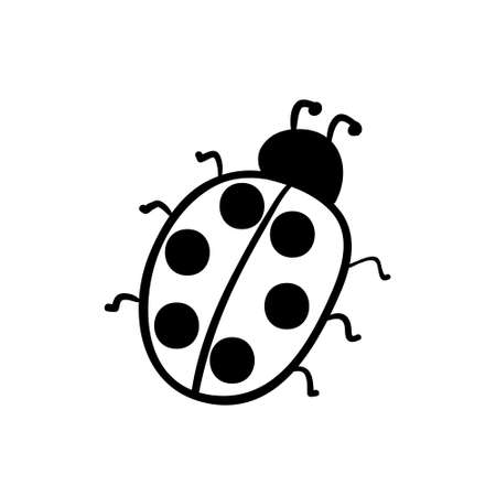 Vector hand drawn ladybug. Black sketch on white background. Stock Illustratie