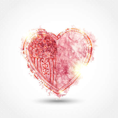 St. Valentine vector illustration. Watercolor heart paint imprint with ornate hand drawn heart and sparkles. Pink color on light gray background. Vector