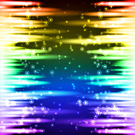 Abstract rainbow sparkling background with lines at left and right side on black background Vector