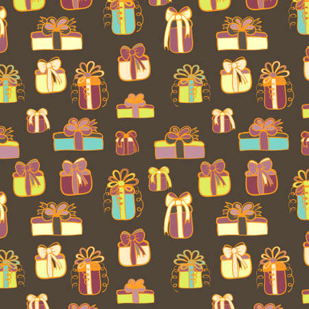 Vector gifts seamless pattern on brown background. Vector