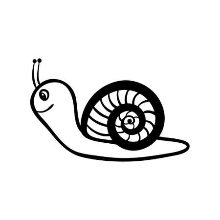 Vector hand drawn snail boy. Black sketch on white background. Vector