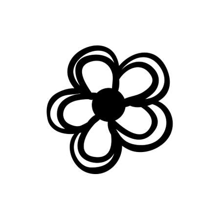 Vector hand drawn simple flower. Black sketch on white background. Vector