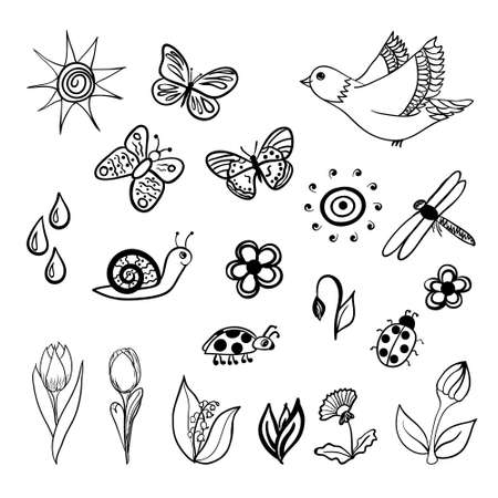 Vector set of spring related doodles. Vector