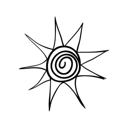 Vector hand drawn stylized sun. Black sketch on white background. Vector