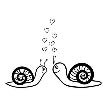 Vector hand drawn couple of snails in love. Black sketch on white background. Vector