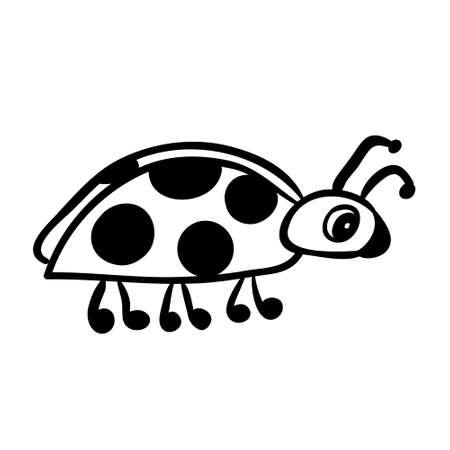 Vector hand drawn ladybug. Black sketch on white background. Vector