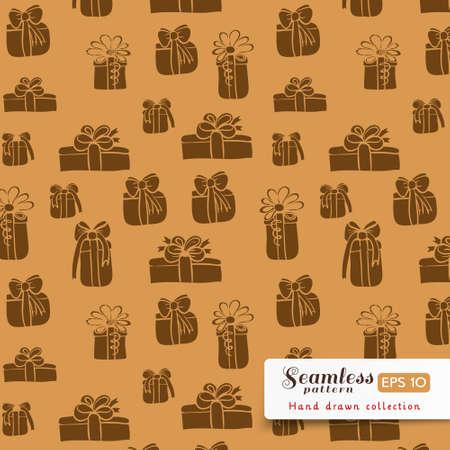dark beige: Vector gifts silhouettes seamless pattern. Brown on dark beige color.