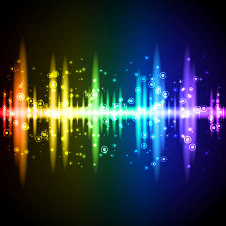 Neon rainbow sound wave equalizer with sparkling particles. Vector illustration on black background. Vector