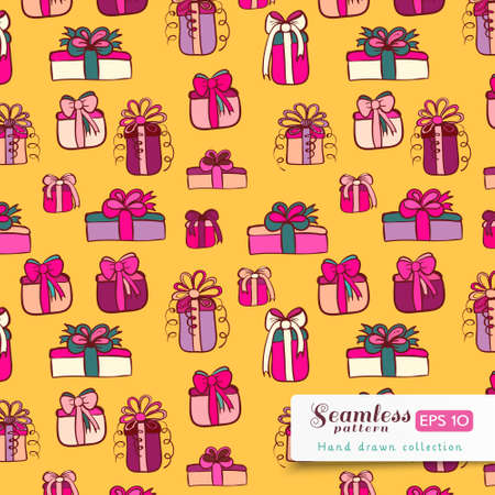 Pink gifts on yellow background. Vector hand drawn seamless pattern. Vector