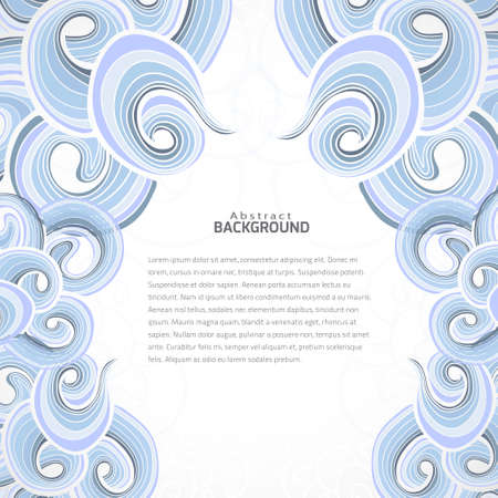 Vector abstract background with blue curly pattern left and right side. Template with space for your text. Vector