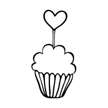 topper: Valentine cupcake decorated with heart topper. Hand drawn sketch.