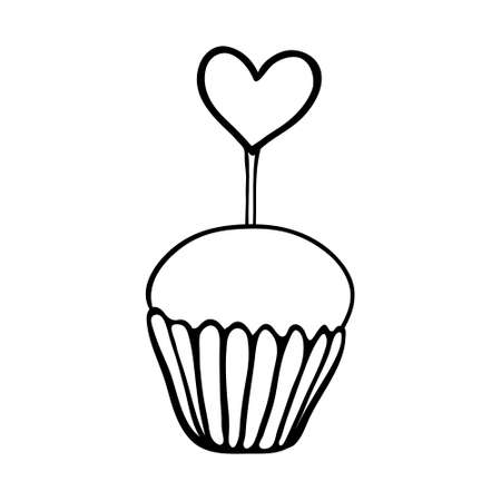 topper: Valentine cupcake decorated with heart topper. Hand drawn sketch. Black outline on white background.
