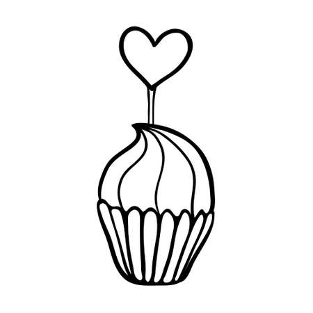 Valentine cupcake decorated with heart topper. Hand drawn sketch. Black outline on white background.