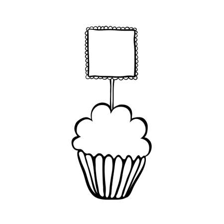 topper: Cupcake decorated with frilly square topper. Hand drawn sketch. Black outline on white background.