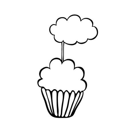 topper: Cupcake decorated with cloud topper.