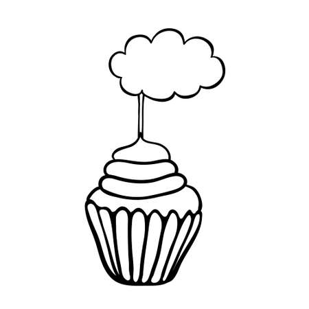topper: Cupcake decorated with cloud topper.  Illustration