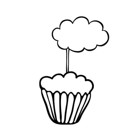 haut de forme: Cupcake d�cor� de nuages ??topper. Illustration