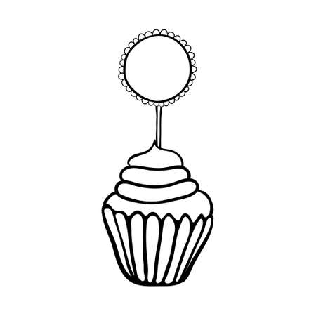Cupcake decorated with frilly round topper.  Illustration