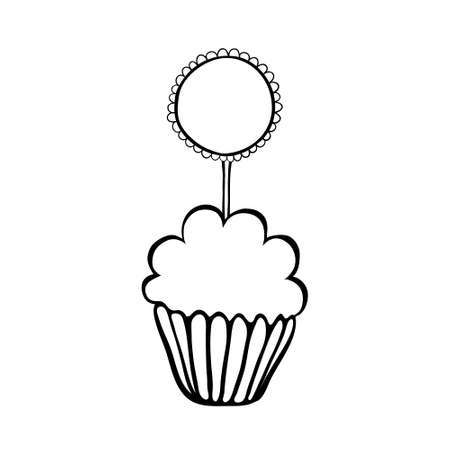 frill: Cupcake decorated with frilly round topper.  Illustration