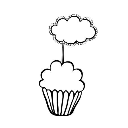 topper: Cupcake decorated with frilly cloud topper.