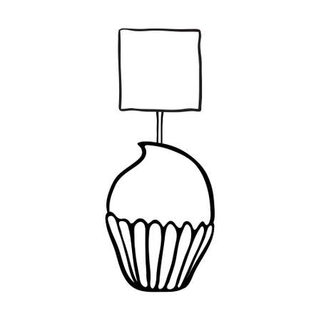 topper: Cupcake decorated with square plate topper.  Illustration