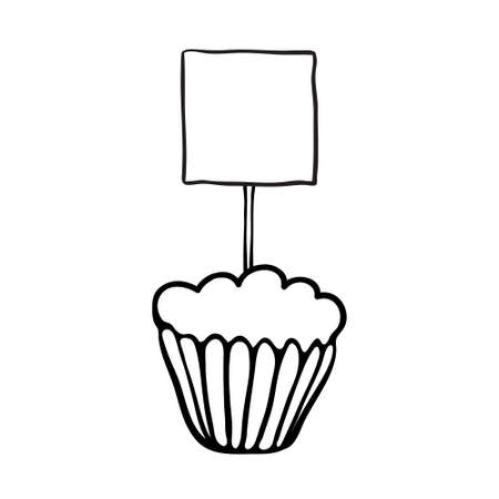 topper: Cupcake decorated with square plate topper.