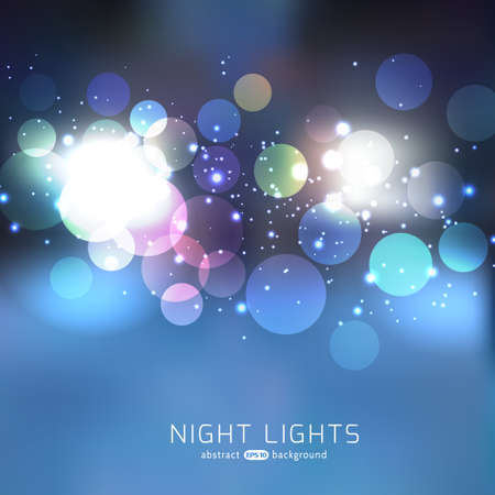 Night lights abstract bokeh sparkling vector background