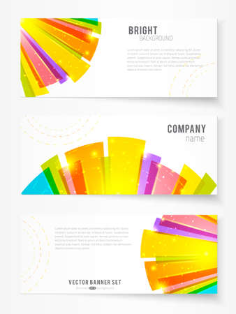 Set of three banners with bright abstract rays