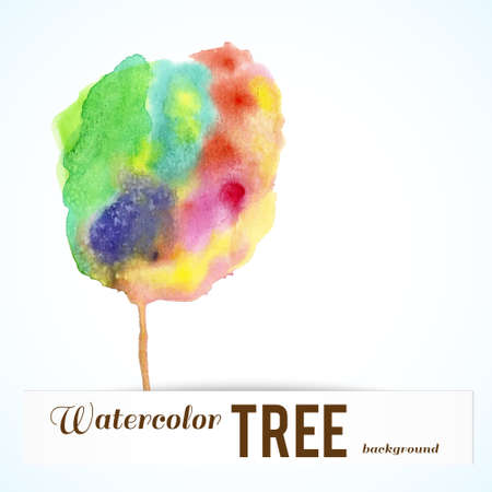 Watercolor varicolored tree. Vector abstract background with space for text.