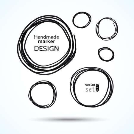 Vector handmade marker circles. Black grunge design. Set of six elements. Stock Illustratie