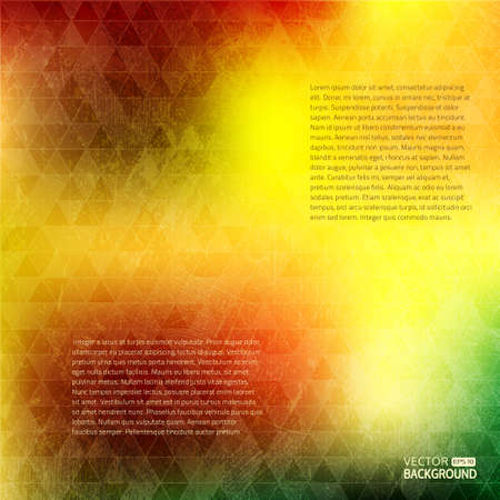 smeared: Vector grunge background. Bright yellow red green abstract texture with triangles. Illustration