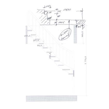 stair: Proyecto boceto de escaleras. Contorno negro sobre fondo blanco. Ilustraci�n del vector.