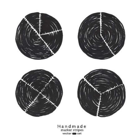 four elements: Vector handmade marker stripes. diagram pie shape set. Black circles grunge design. Set of four elements. Illustration