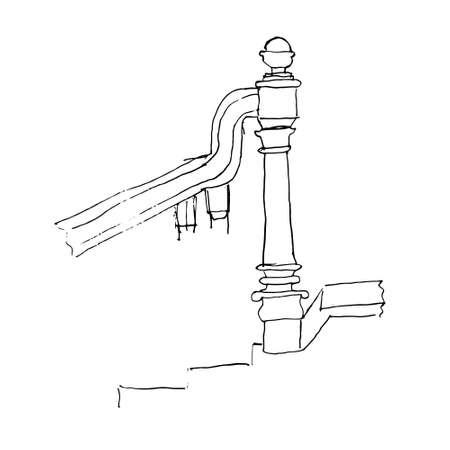 Stair part draft sketch. Black outline on white background. Vector illustration. Vector
