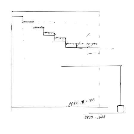 Stair draft sketch. Black outline on white background. Vector illustration. Vector