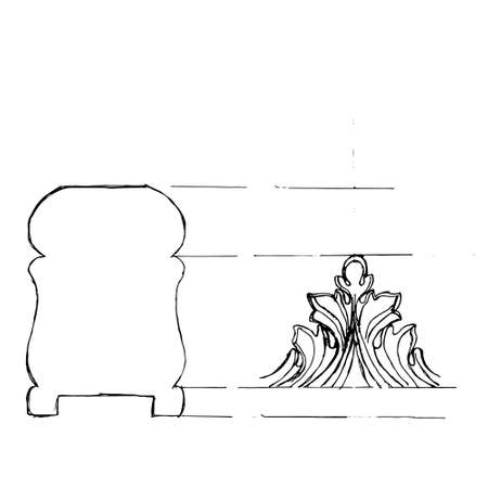 Stair balustrade draft sketch. Black outline on white background. Vector illustration. Vector