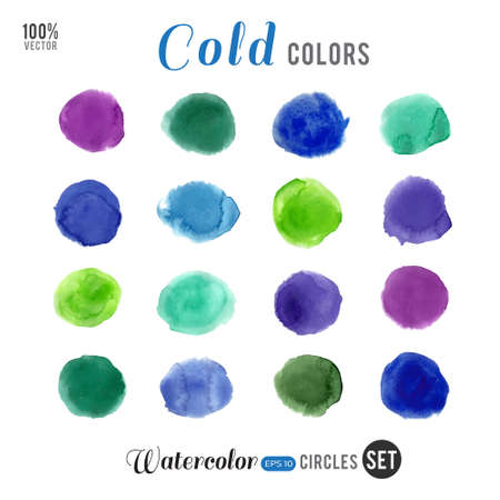 cold colors: Watercolor vector big set. Cold colors circles on white background.
