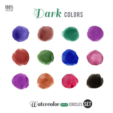 Watercolor vector big set. Dark colors circles on white background. Vector