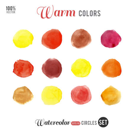 warm colors: Watercolor vector big set. Warm colors circles on white background. Illustration