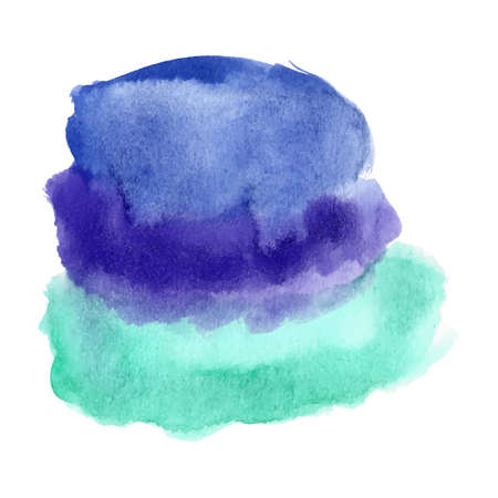 isolated spot: Abstract watercolor art hand drawn isolated on white background. Blue and turquoise watercolor spot