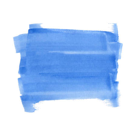 Abstract watercolor art hand drawn isolated on white background. Blue watercolor rectangle striped spot. Vector illustration.