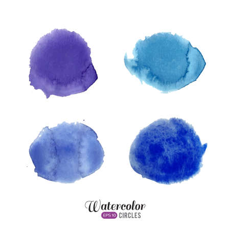 blue circles: Watercolor set. Blue circles on white background.